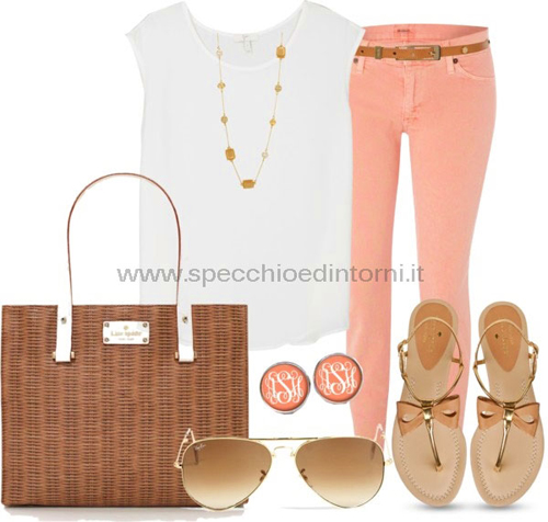 come abbinare rosa pesca colore colori vestito camicia pantalone accessori borse scarpe