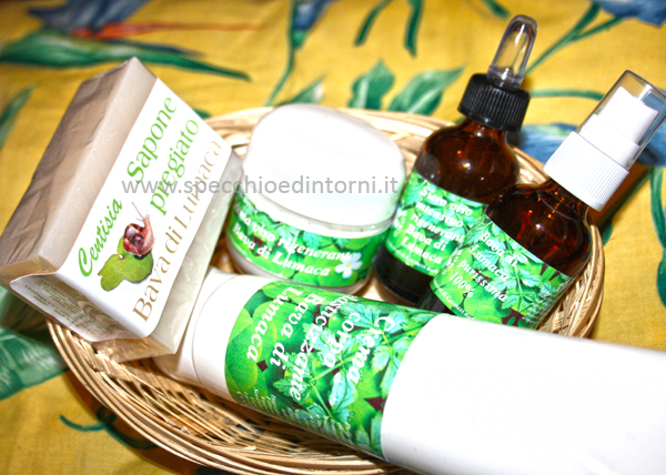 bava di lumaca crema siero corpo viso spray sapone centisia linea cosmetica