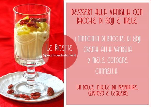 dessert bacche di goji vaniglia mele cotogne ricetta