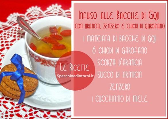 infuso bacche di goji, chiodi di garofano, arancia ricetta rimedi naturali raffreddore