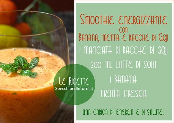 smoothie bacche goji frullato menta banana latte soia