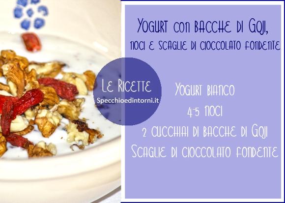 Ricetta: Yogurt con bacche di Goji, noci e cioccolato